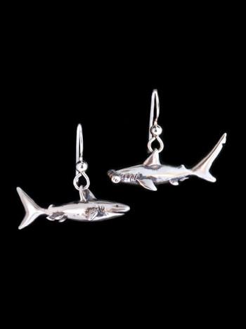 Shark Earrings in Silver
