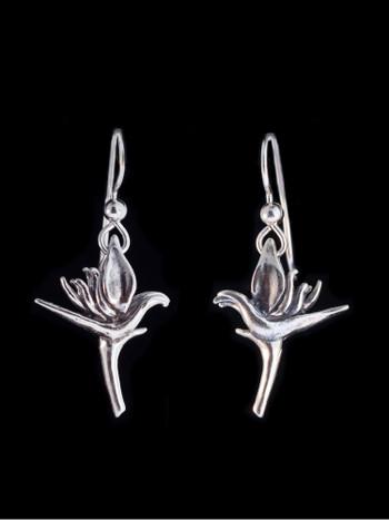 Jungle Jewel Bird of Paradise Earrings in Silver