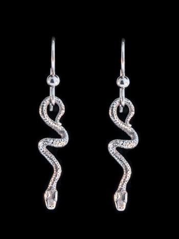 Jungle Jewel Vine Snake Earrings in Silver