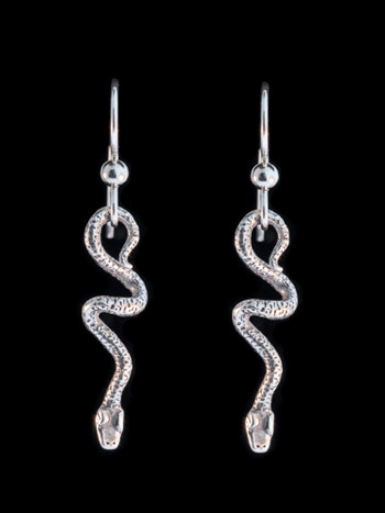 Jungle Jewel Vine Snake Earrings in Silver