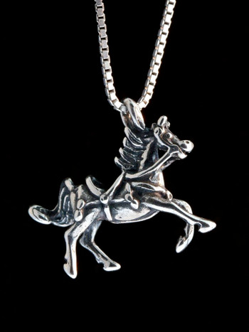 Arabian Nights - Horse With Tack Charm - Silver