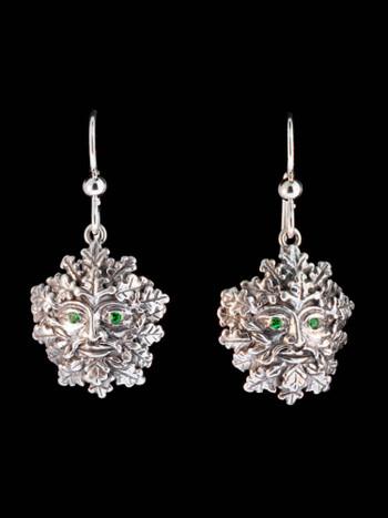 Green Man Earrings w/ Tsavorite Eyes in Silver