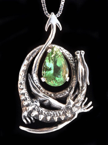 Curled Dragon Pendant with Green Amethyst