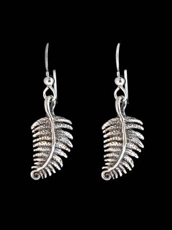 Jungle Jewel Fern Earrings in Silver