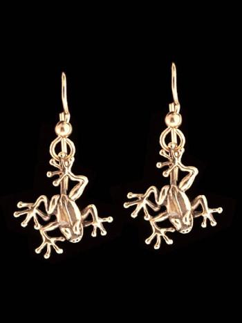 Jungle Jewel Tree Frog Earrings in 14k Gold