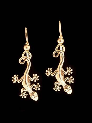 Jungle Jewel Gecko Earrings in 14K Gold