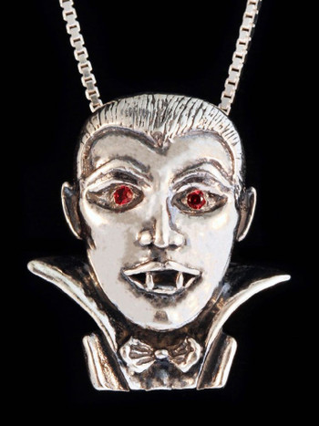 Dracula Vampire Pendant with Ruby Eyes in Silver