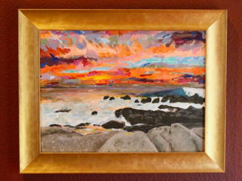 Blood Sky over the Sea Of Cortez - Oil on board