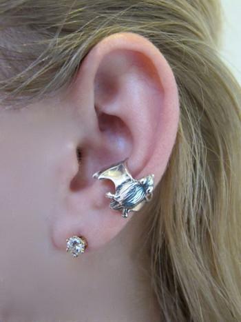 Bat Ear Cuff in Silver