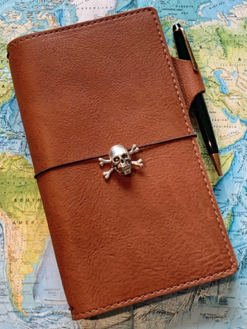 Skull and Crossbones Traveler's Notebook Charm in Silver
