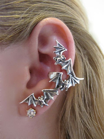 Bat Flock Ear Cuff - Silver