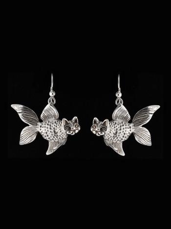 Large Catfish Earrings in Silver