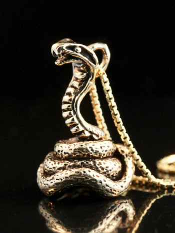 Coiled Cobra Charm - 14k Gold