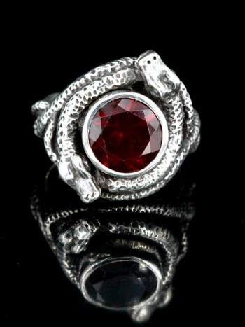 Oracle Snake Ring with Garnet
