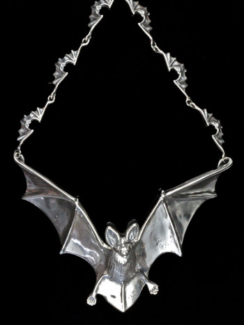 Bat Neckpiece with Ruby eyes and 12 link bat chain - Silver