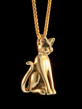 Magic Cat Pendant with Tsavorite Eyes - 14K gold