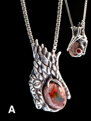Phantom Viper Snake Head Pendant with Mexican Matrix Fire Opal and Faceted Fire Opal on back - Option A