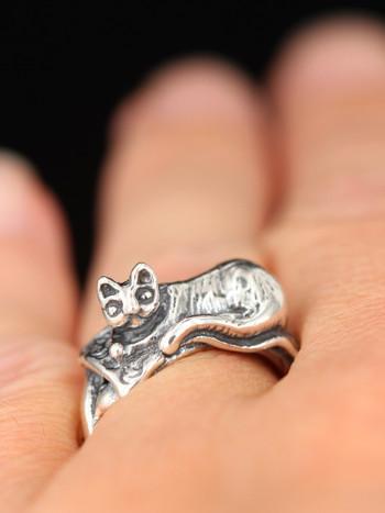 Magic Carpet Cat Ring - Silver