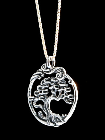 Sterling Silver Cypress Tree In Circle Charm