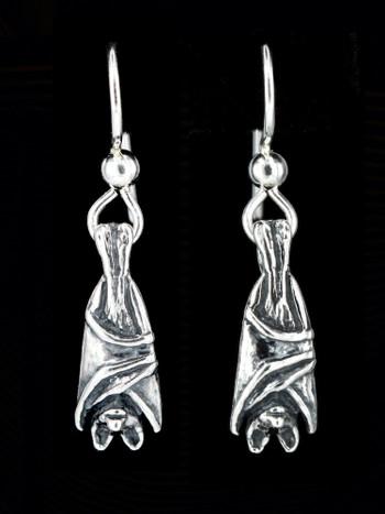 Sterling Silver Bat Briolette Earrings