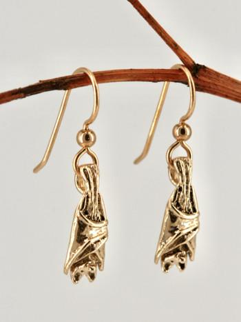 14k Gold Bat Briolette Earrings