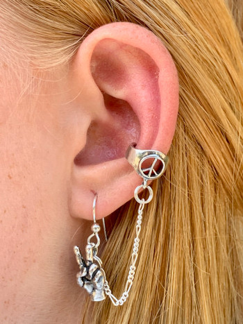 Peace Symbol Ear Cuff Bajoran - Silver