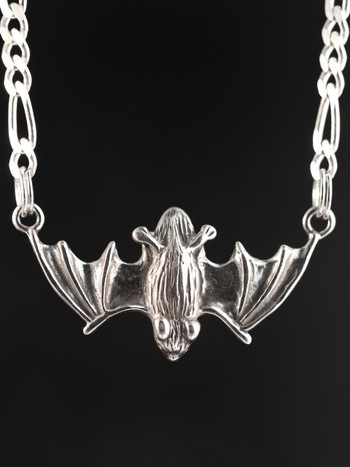 Flying Bat Pendant with Figero chain - Silver