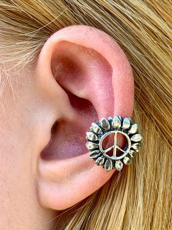 Flower Power Peace Symbol Ear Cuff - Silver