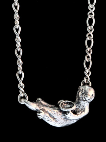 Sea Otter Pendant with Figure Eight Chain