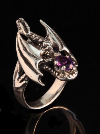 Silver Glider Dragon Ring with Amethyst