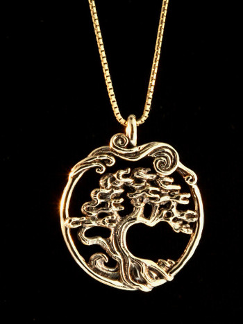 Bonsai Tree Pendant - 14k Gold