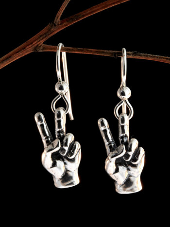 Peace Hand Sign Earrings - Silver