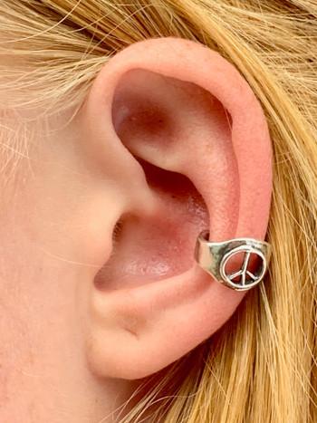 Peace Sign Ear Cuff - Silver