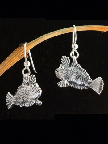 Handfish Angler Charm Earrings - Silver