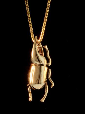 Rhinoceros Beetle Charm - 14k Gold