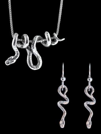 Vine Snake Jewelry Set - Vine Snake Pendant and Tiny Jungle Jewel Earrings
