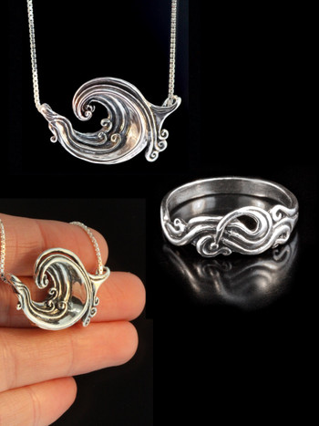 Rip Curl Wave Pendant and Nouveau Swirl Ring jewelry Set - Silver