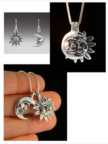 Celestial Jewelry Set - Eclipse Necklace and Sun Moon Earrings - Silver