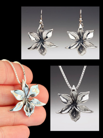 Orchid Jewelry Set - Orchid Necklace and Orchid Earrings - Silver