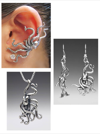 Octopus and Mermaid Jewelry Set - Octopus Ear Cuff - Octopus Mermaid Earrings - Octopus Charm Necklace - Silver