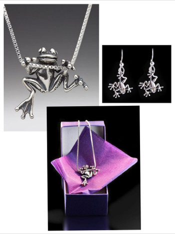 Tree Frog Jewelry Set - Tree Frog Charm Necklace and Jungle Jewel Tree Frog Earrings - Silver