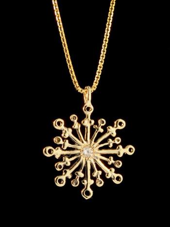 Snowflake with Diamond - 14K gold