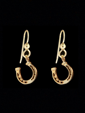Good Luck Horseshoe Earrings - 14k Gold