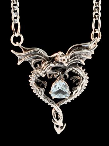 Dragon Heart Pendant With Aqua Marine - Silver
