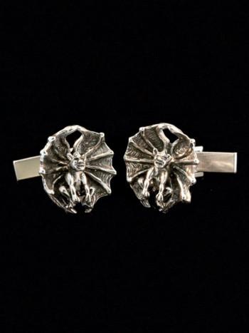 Gothic Gargoyle Cufflinks - Silver
