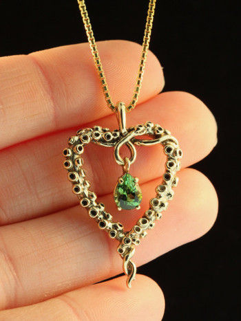 Tentacle Heart with Tourmaline - 14K Gold
