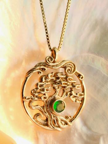Bonsai Tree Pendant with Tsavorite - 14K Gold