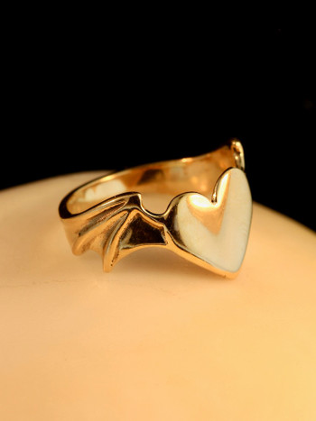 Winged Heart Ring - 14K Gold