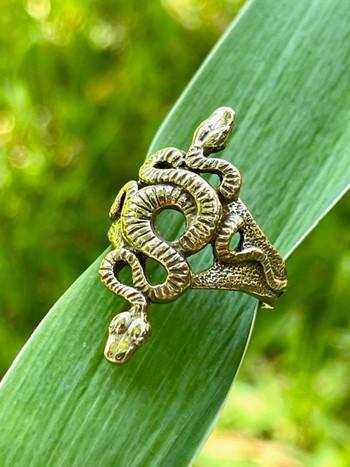 Alpha Omega Snake Ring - 14K gold