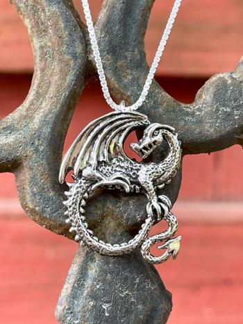 Avalon Dragon Pendant - Sterling Silver